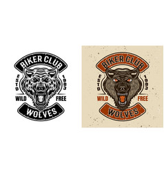 wolves biker club emblem in two styles vector image