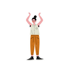 Young woman standing with her arm raised to show vector