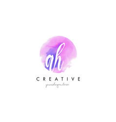 ah watercolor letter logo design with purple vector image vector image