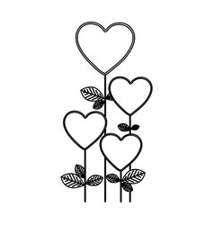 figure heart balloons trees icon vector image vector image