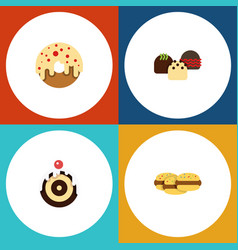 Flat cake set of doughnut biscuit pastry and vector