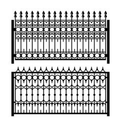 Old Style Decorative Iron Fences Set vector image vector image