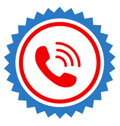 phone call stamp seal flat icon vector image vector image
