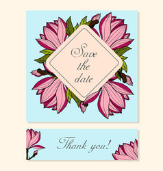 set of cards with magnolia floral motifs vector image