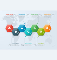 timeline chart infographic template with 7 options vector image vector image