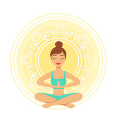 young yoga woman meditating in the lotus position vector image