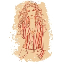 Girl in a business suit with long hairs vector image vector image