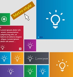 Light lamp Idea icon sign Metro style buttons vector image