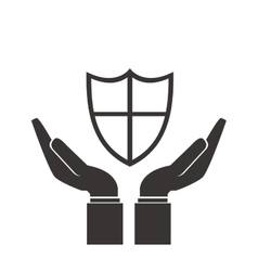 Shelter hand shield icon vector