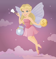 Tooth fairy with a magic wand vector image vector image