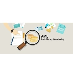 AML anti money laundering cash coin transaction vector image vector image