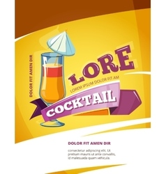 Cocktail bar poster template Summer party vector image vector image