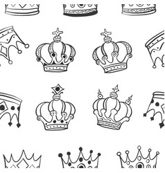 collection crown style pattern vector image vector image