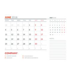 june 2018 calendar planner design template week vector image vector image