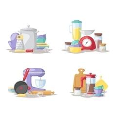 Kitchen cook tools set flat vector image vector image