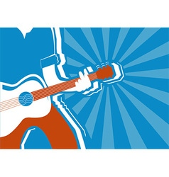 musician and guitar background vector image vector image