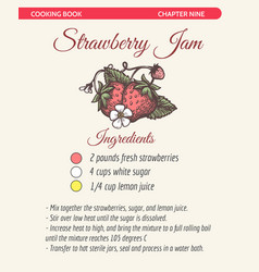 strawberry jam recipe book page vector image
