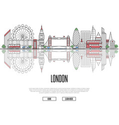 travel tour to london poster in linear style vector image vector image