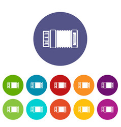 accordion set icons vector image