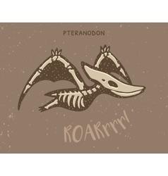 Cartoon pteranodon dinosaur fossil vector image