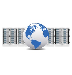 Servers and Globe Internet Network Servers vector image vector image