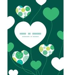 abstract green circles heart symbol frame vector image