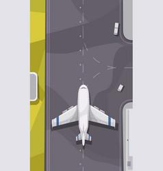 Airport runway top view vector