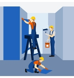 Apartment building renovation work icon poster vector