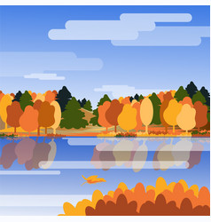 Autumn background landscape with river trees and vector