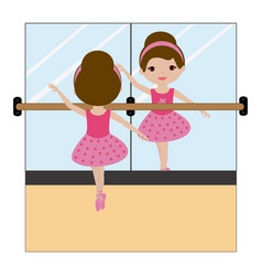 Ballerina in front of the mirror vector