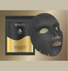 black charcoal facial mask sheet vector image