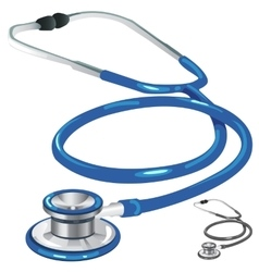 Blue and gray medical stethoscope closeup vector image