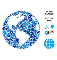 blue triangle earth globe vector image