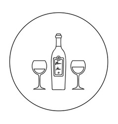 bottle of red wine with glasses icon in outline vector image