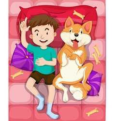 Boy and pet dog sleeping on bed vector