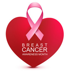 breast cancer awareness month heart shape and vector image