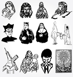 catholic silhouettes vector image