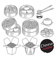 Chinese cuisine food doodle elements hand drawn vector