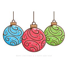 christmas ball ornament hand drawing vector image