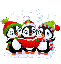 Christmas carolers penguins vector