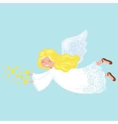 Christmas holiday flying angel with wings vector