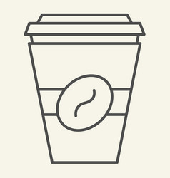 coffee to go thin line icon disposable cup vector image