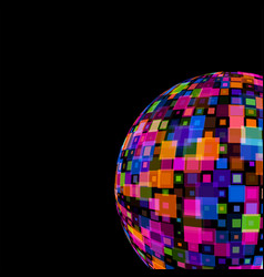 colorful mirror disco ball on black background vector image