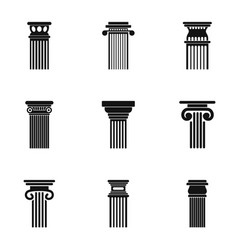 Column icons set simple style vector