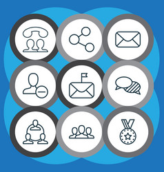 communication icons set with group delete vector image