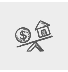 Compare or exchange home to money sketch icon vector