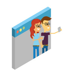 couple with smartphone vector image