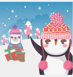 Cute polar bear and penguin with gift snow vector