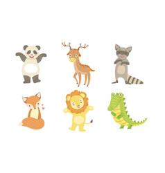 cute smiling animals set happy panda deer vector image