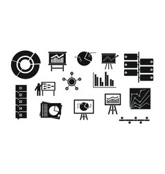 diagram icon set simple style vector image